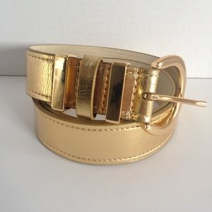 Womens Gold Belt Sz M Leather Lined